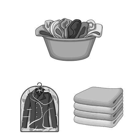 Iconos monocromos de equipo de limpieza en seco de colección set de diseño. Lavado y planchado de ropa vector símbolo stock de ilustración. Ilustración de vector