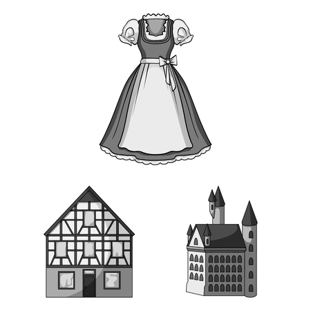Country Germany monochrome icons in set collection for design. Germany and landmark vector symbol stock  illustration. Illustration
