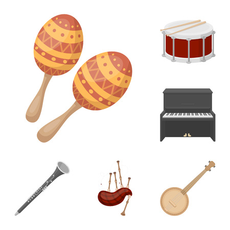 Musical instrument cartoon icons in set collection for design. String and Wind instrument vector symbol stock  illustration.