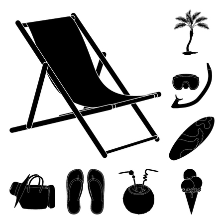 Verano, descanso, negro, iconos de colección set de diseño. Ilustración de stock de símbolo de vector de accesorio de playa.