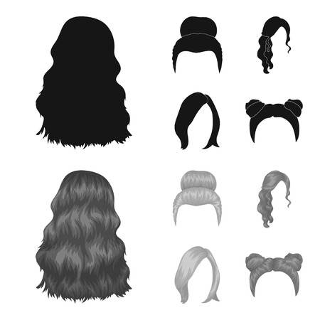 Blond with a bunch, red wavy and other types of hair. Back hair,set collection icons in black,monochrome style vector symbol stock illustration .