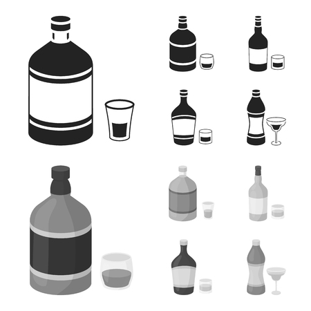 Whiskey, liquor, rum, vermouth.Alcohol set collection icons in black,monochrome style vector symbol stock illustration .