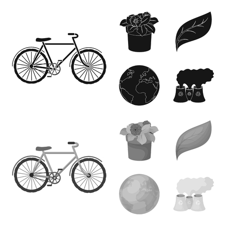 A processing plant, flowers in a pot, a green leaf, a planet Earth.Bio and ecology set collection icons in black,monochrome style vector symbol stock illustration web.