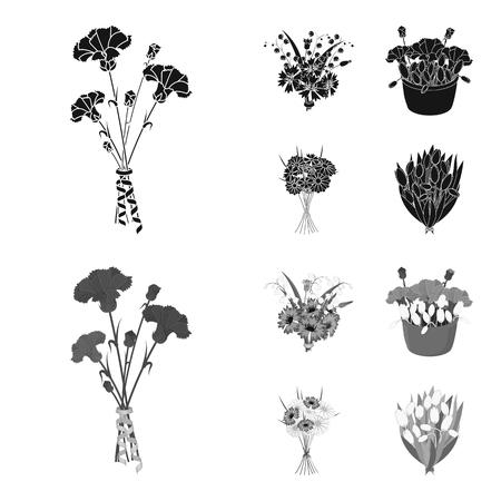 Ein Strauß frischer Blumen schwarz, einfarbige Symbole in Set-Kollektion für Design. Verschiedene Blumensträuße vector Symbolvorratillustration. Vektorgrafik