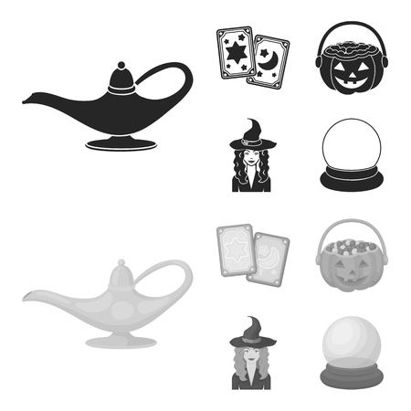 Tarot cards, holiday halloween, magician in a hat, crystal ball. Black and white magic set collection icons in black,monochrome style vector symbol stock illustration web. Ilustração
