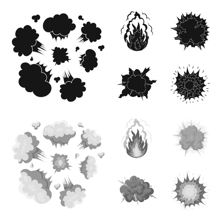 Flame, sparks, hydrogen fragments, atomic or gas explosion, thunderstorm, solar explosion. Explosions set collection icons in black,monochrome style vector symbol stock illustration web. Ilustração