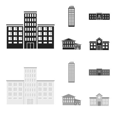 Skyscraper, police, hotel, school.Building set collection icons in black,monochrome style vector symbol stock illustration web.