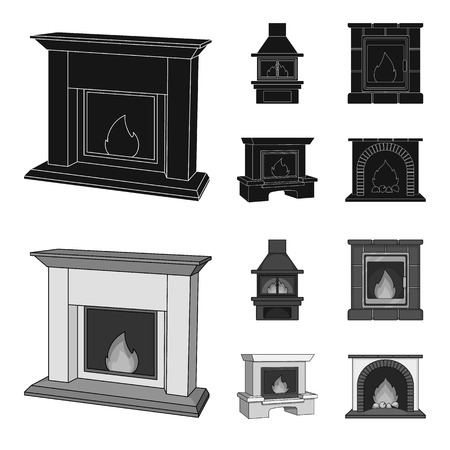 Fire, warmth and comfort. Fireplace set collection icons in black,monochrome style vector symbol stock illustration web.