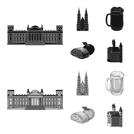 Country Germany black,monochrome icons in set collection for design. Germany and landmark vector symbol stock web illustration. Illustration