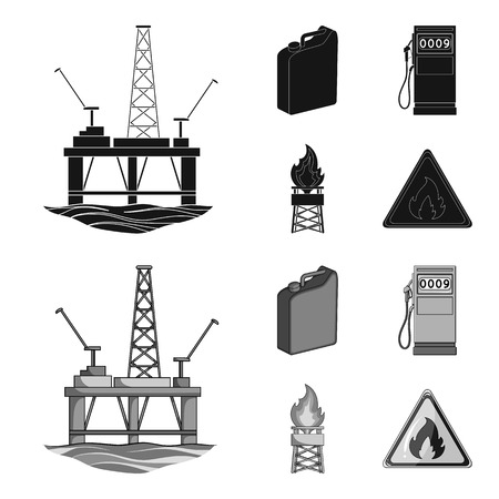 Canister for gasoline, gas station, tower, warning sign. Oil set collection icons in black,monochrome style vector symbol stock illustration web. Иллюстрация