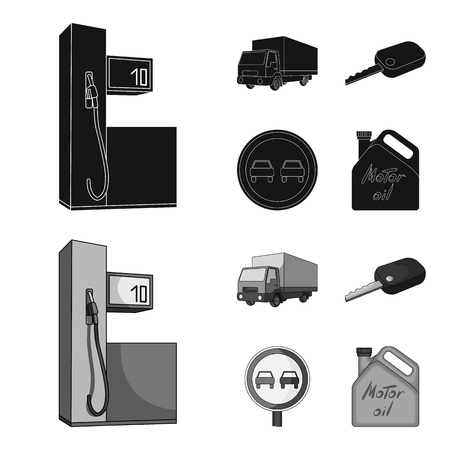Truck with awning, ignition key, prohibitory sign, engine oil in canister, Vehicle set collection icons in black,monochrome style vector symbol stock illustration web.