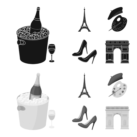 Eiffel tower, brush, hat .France country set collection icons in black,monochrome style vector symbol stock illustration web.