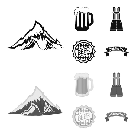 Pantaloncini con bretelle, un bicchiere di birra, un cartello, un emblema. Oktoberfest impostata icone dell'accumulazione in nero, monocromatico vettore stile simbolo illustrazione stock web.