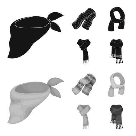 Various kinds of scarves, scarves and shawls. Scarves and shawls set collection icons in black,monochrome style vector symbol stock illustration web. Stock Illustratie