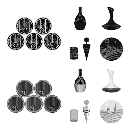 A bottle of wine in a basket, a gafine, a corkscrew with a cork, a grape valley. Wine production set collection icons in black,monochrome style vector symbol stock illustration web. Foto de archivo - 106763390