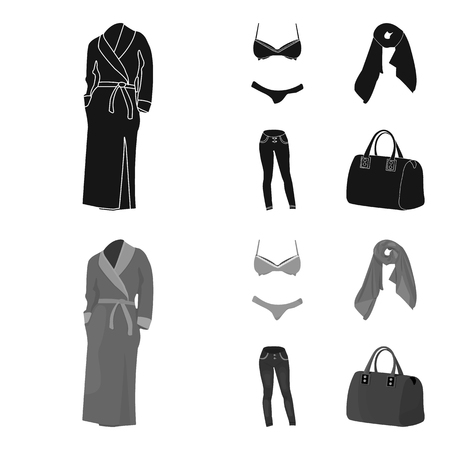 Bra with shorts, a women scarf, leggings, a bag with handles. Women clothing set collection icons in black,monochrome style vector symbol stock illustration web.  イラスト・ベクター素材