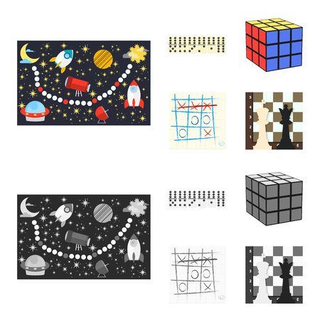 Board game cartoon,monochrome icons in set collection for design. Game and entertainment vector symbol stock web illustration. Stok Fotoğraf - 106763448