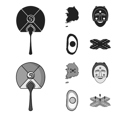 A map of the state with a flag, a Korean mask, a national egg meal, a crossroads with traffic lights. South Korea set collection icons in black,monochrome style vector symbol stock illustration web.