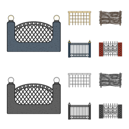 A fence of metal and bricks,wooden palisade. A different fence set collection icons in cartoon,monochrome style vector symbol stock illustration web.