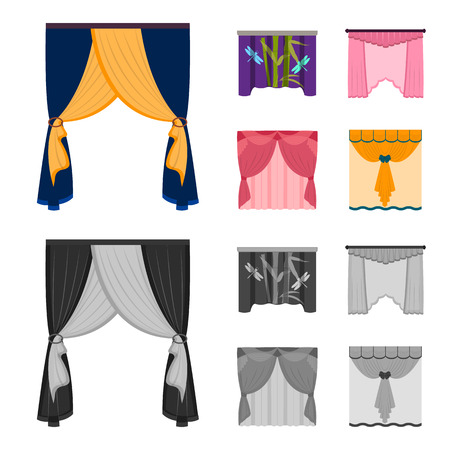 Embroidery, textiles, furniture and other web icon in cartoon,monochrome style.Curtains, stick, cornices, icons in set collection. Vectores