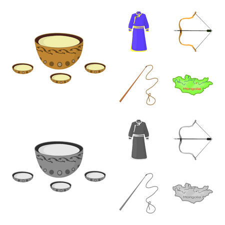 .mongol dressing gown, battle bow, theria on the map, Urga, Khlyst. Mongolia set collection icons in cartoon,monochrome style vector symbol stock illustration web.