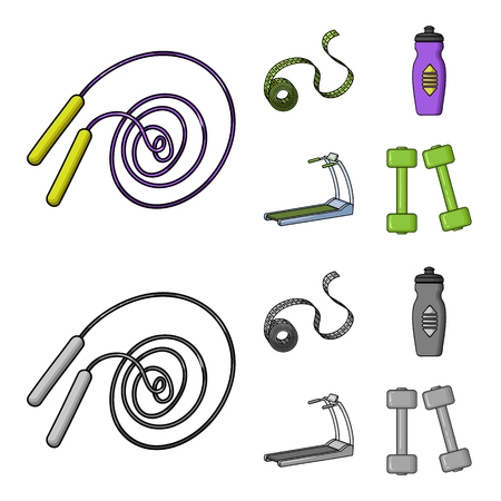Measuring tape, water bottle, treadmill, dumbbells. Fitnes set collection icons in cartoon,monochrome style vector symbol stock illustration web.