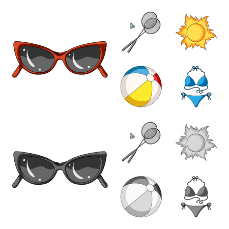 A game of badminton, a ball and the sun.Summer vacation set collection icons in cartoon,monochrome style vector symbol stock illustration web.