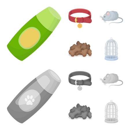 A collar, a forage, a toy, a cage and other products of the zoo store.Pet shop set collection icons in cartoon,monochrome style vector symbol stock illustration web.