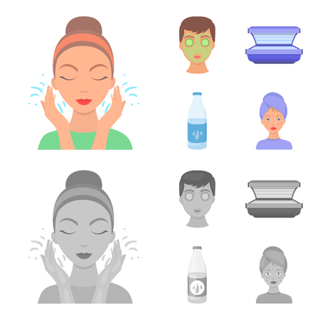Face mask, solarium, bottle ts lasenom, pimples on face. Skin Care set collection icons in cartoon,monochrome style vector symbol stock illustration web.