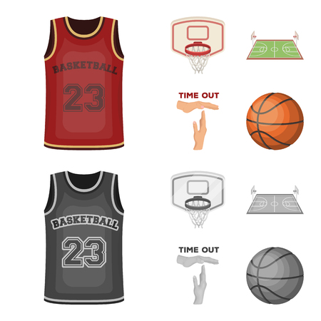 Basketball and attributes cartoon,monochrome icons in set collection for design.Basketball player and equipment vector symbol stock web illustration. Çizim