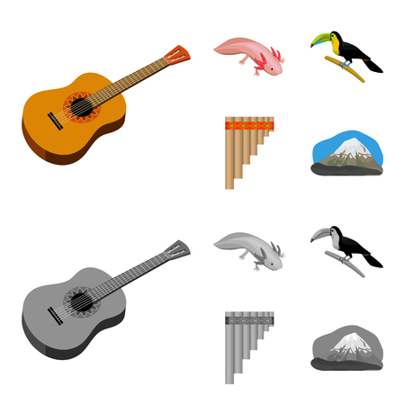 Sampono Mexican musical instrument, a bird with a long beak, Orizaba is the highest mountain in Mexico, axolotl is a rare animal. Mexico country set collection icons in cartoon,monochrome style vector symbol stock illustration web. Illustration