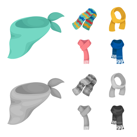 Various kinds of scarves, scarves and shawls. Scarves and shawls set collection icons in cartoon,monochrome style vector symbol stock illustration web. Stock Illustratie