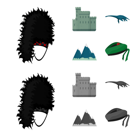 Edinburgh Castle, Loch Ness Monster, Grampian Mountains, national cap balmoral,tam o shanter. Scotland set collection icons in cartoon,monochrome style vector symbol stock illustration web.
