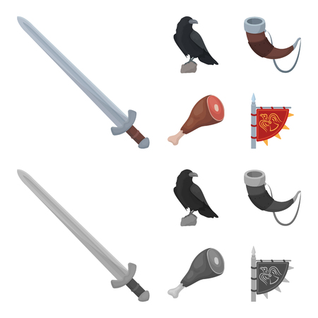 Sitting crow, horn with drink, ham, victory flag. Vikings set collection icons in cartoon,monochrome style vector symbol stock illustration web.