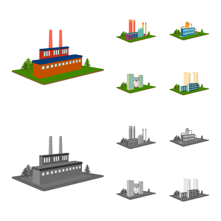 Processing factory,metallurgical plant. Factory and industry set collection icons in cartoon,monochrome style isometric vector symbol stock illustration web.