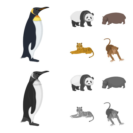 Bamboo bear, hippopotamus, wild animal tiger, monkey . Wild animal set collection icons in cartoon,monochrome style vector symbol stock illustration web.