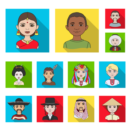 The human race flat icons in set collection for design. People and nationality vector symbol stock web illustration. Ilustrace