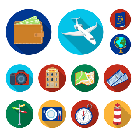Rest and travel flat icons in set collection for design. Transport, tourism vector symbol stock web illustration.