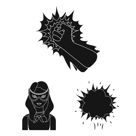 A fantastic superhero black icons in set collection for design. Superhero equipment bitmap symbol stock web illustration.