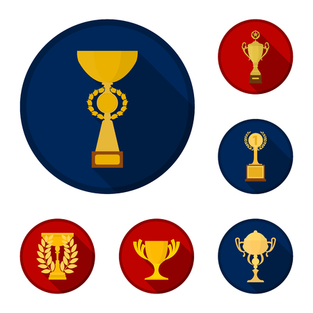Gold Cup flat icons in set collection for design. Winners Cup bitmap symbol stock web illustration. 스톡 콘텐츠