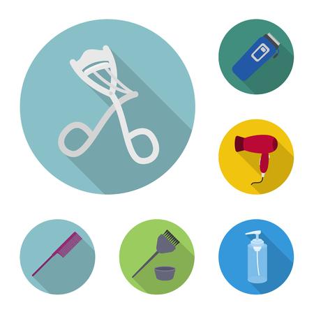 Hairdresser and tools flat icons in set collection for design.Profession hairdresser bitmap symbol stock web illustration. 版權商用圖片