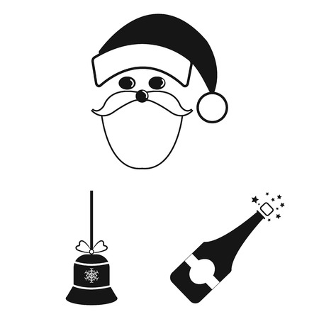 Christmas attributes and accessories black icons in set collection for design. Merry Christmas bitmap symbol stock web illustration.