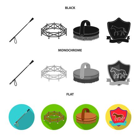 Aviary, whip, emblem, hippodrome .Hippodrome and horse set collection icons in black, flat, monochrome style bitmap symbol stock illustration web.