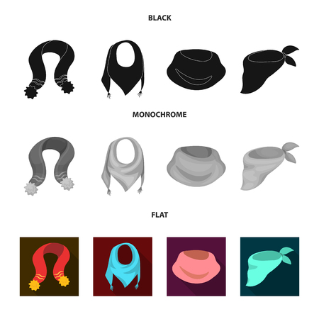 Various kinds of scarves, scarves and shawls. Scarves and shawls set collection icons in black, flat, monochrome style bitmap symbol stock illustration web.