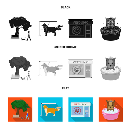 Walking with a dog in the park, combing a dog, a veterinarian office, bathing a pet. Vet clinic and pet care set collection icons in black, flat, monochrome style bitmap symbol stock illustration web.