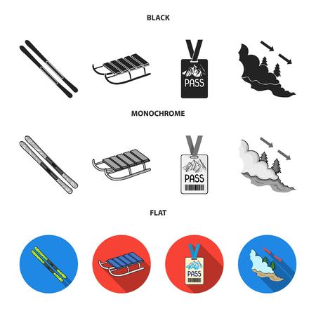Ski, sled, lifeguard badge, badge avalanche. Ski resort set collection icons in black, flat, monochrome style bitmap symbol stock illustration web.