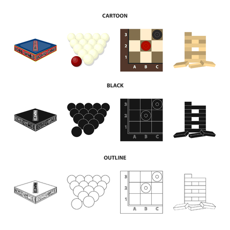 Board game cartoon,black,outline icons in set collection for design. Game and entertainment bitmap symbol stock web illustration.