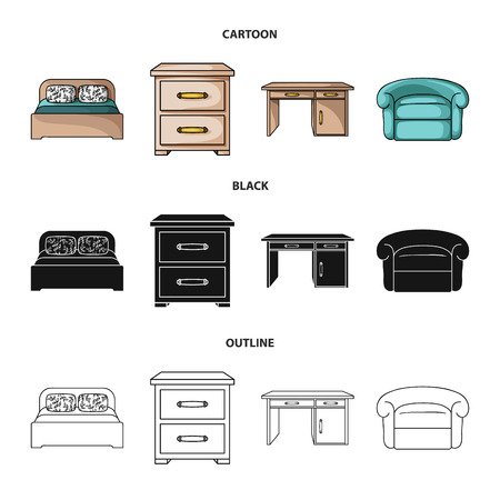 Interior, design, bed, bedroom .Furniture and home interiorset collection icons in cartoon,black,outline style bitmap symbol stock illustration web. Stockfoto