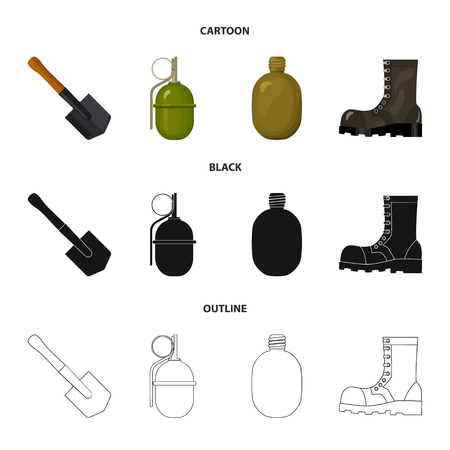 Sapper blade, hand grenade, army flask, soldier boot. Military and army set collection icons in cartoon,black,outline style bitmap symbol stock illustration web.