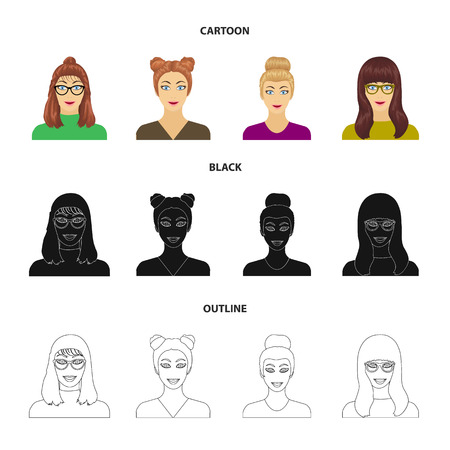 The face of a girl with glasses, a woman with a hairdo. Face and appearance set collection icons in cartoon,black,outline style bitmap symbol stock illustration web.